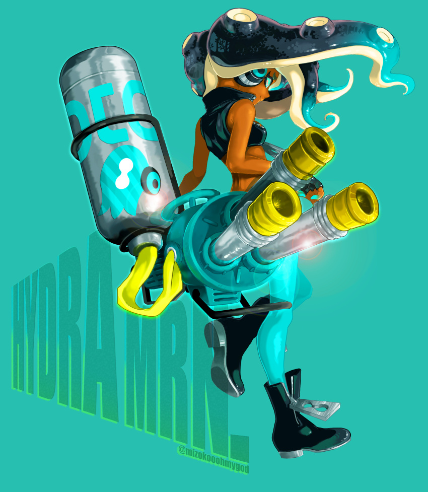 1girl absurdres aqua_background bare_shoulders black_footwear black_gloves black_hair blue_eyes blue_hair blue_legwear blue_skin boots closed_mouth crop_top dark_skin fingerless_gloves floating_hair full_body gloves gradient_hair headphones highres hydra_splatling_(splatoon) iida_(splatoon) leg_up lens_flare long_hair multicolored multicolored_hair multicolored_skin octarian otoboke-san pantyhose pink_pupils sleeveless smile solo splatoon splatoon_(series) splatoon_2 suction_cups tentacle_hair twitter_username two-tone_hair two-tone_skin zipper_pull_tab