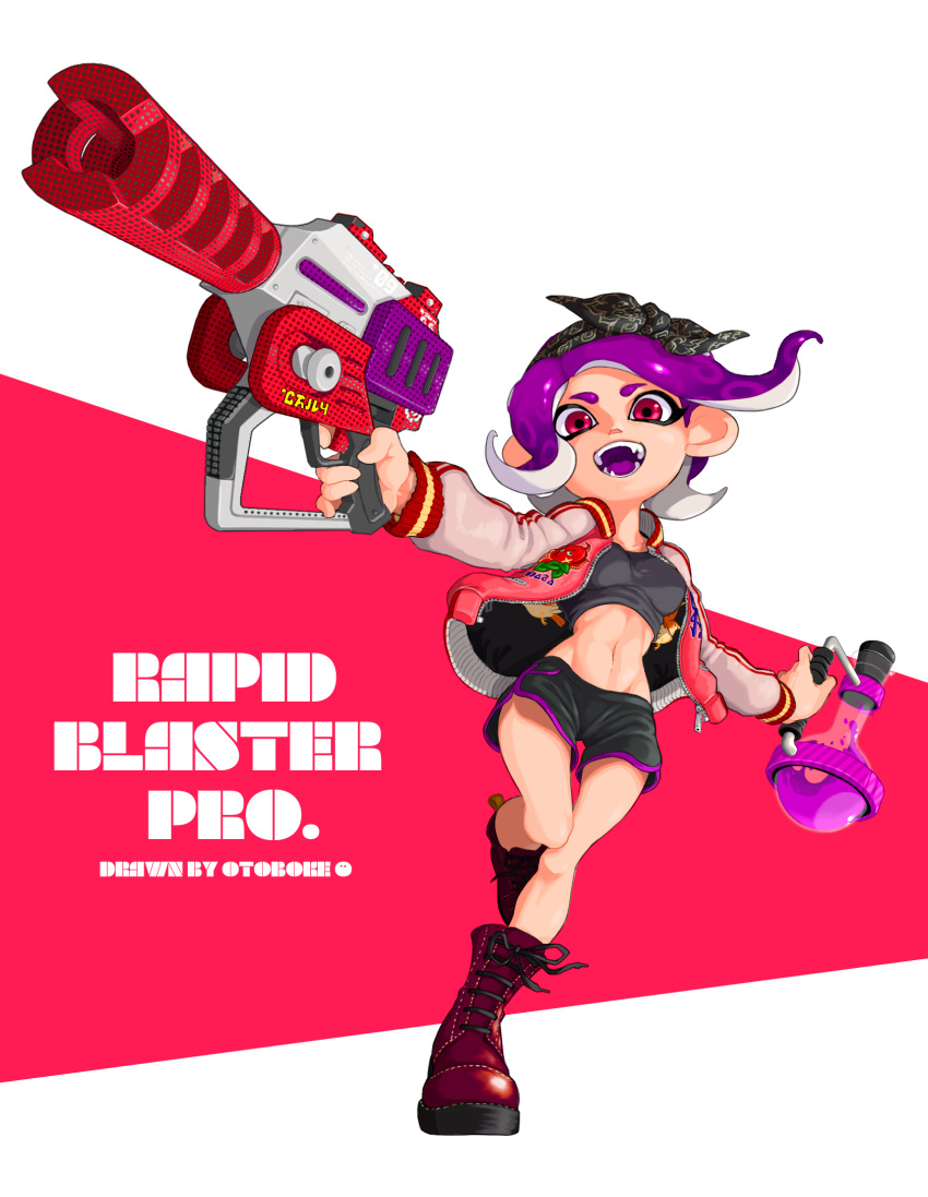 1girl :d artist_name bandanna black_shorts boots breasts crop_top cross-laced_footwear full_body groin highres holding jacket lace-up_boots leg_up long_sleeves looking_at_viewer medium_breasts medium_hair navel octarian octoling open_clothes open_jacket open_mouth otoboke-san purple_hair rapid_blaster_pro_(splatoon) red_eyes red_footwear shorts smile solo splatoon splatoon_(series) splatoon_2 standing standing_on_one_leg suction_cups tentacle_hair toxic_mist_(splatoon) unzipped zipper zipper_pull_tab