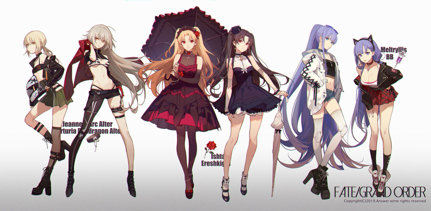 6+girls :p ahoge artoria_pendragon_(all) ask_(askzy) asymmetrical_clothes bangs bare_shoulders bb_(fate)_(all) bell bikini black_footwear black_gloves black_hair black_jacket black_legwear blonde_hair blue_eyes blush boots breasts bridal_gauntlets brown_dress brown_legwear casual character_name choker coat commentary_request crop_top cross cross-laced_footwear cross_earrings denim denim_shorts detached_sleeves dress earrings ereshkigal_(fate/grand_order) eyebrows_visible_through_hair eyewear_on_head fate/grand_order fate_(series) full_body gloves gradient gradient_background green_skirt hair_ribbon hairband hand_on_hip hand_on_own_thigh hat headdress high-waist_skirt high_heel_boots high_heels highleg highleg_bikini highres holding holding_jacket holding_umbrella hood hood_down hooded_coat hoop_earrings ishtar_(fate/grand_order) jacket jacket_removed jeanne_d'arc_(alter)_(fate) jeanne_d'arc_(fate)_(all) jewelry lace-up_boots large_breasts leaning_forward long_hair looking_at_viewer mary_janes meltryllis mini_hat multiple_girls navel necklace open_clothes open_coat open_jacket orange_eyes parted_bangs ponytail purple_dress purple_hair red_dress red_eyes red_jacket red_skirt ribbon saber_alter shoes short_hair short_shorts shorts silver_hair simple_background single_pantsleg single_thighhigh skindentation skirt small_breasts smile socks star star_earrings stomach strapless striped striped_bikini sunglasses swimsuit thigh-highs thigh_strap thighs tinted_eyewear tongue tongue_out tubetop two_side_up umbrella very_long_hair violet_eyes white_coat white_legwear yellow_eyes