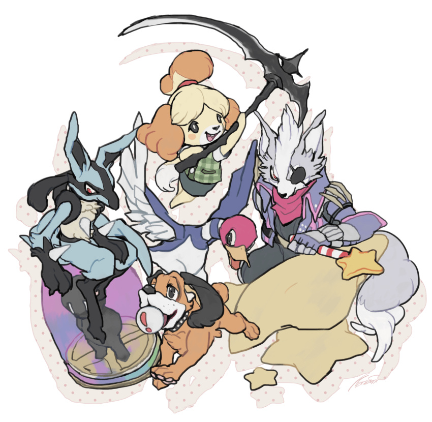 ! 1girl 2boys animal_crossing animal_ears arm_up assist_trophy aura_(specie) barefoot bird black_eyes black_pants black_shirt blonde_hair blue_skirt blush_stickers buck_teeth canine closed_mouth dog dog_(duck_hunt) dog_ears dog_tail doubutsu_no_mori drop_shadow duck duck_(duck_hunt) duck_hunt eyepatch fingerless_gloves flat_chest full_body furry gen_4_pokemon gloves green_vest hair_tie hal_laboratory_inc. hand_up highres holding holding_weapon hoshi_no_kirby huge_weapon jacket jumping kanami kirby_(series) looking_at_viewer lucario miniskirt multiple_boys nintendo_ead no_humans open_mouth pants pencil_skirt pink_neckwear plaid plaid_vest pokemon pokemon_(creature) purple_gloves purple_jacket red_eyes running shirt shizue_(doubutsu_no_mori) short_hair short_sleeves simple_background sitting skirt smile sora_(company) specie_connection star star_fox star_rod super_smash_bros. super_smash_bros._ultimate super_smash_bros_brawl super_smash_bros_for_wii_u_and_3ds tail tied_hair tiny_pupils tobidase:_doubutsu_no_mori topknot vest weapon white_background white_shirt wolf_ears wolf_o'donnell wolf_tail