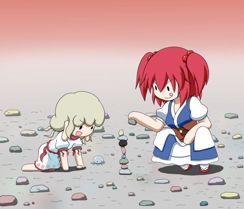 2girls :q all_fours barefoot blonde_hair chibi commentary_request dress earlobes ebisu_eika eyebrows_visible_through_hair gradient gradient_background grey_background hair_between_eyes hair_bobbles hair_ornament jellyfish layered_dress multiple_girls onozuka_komachi open_mouth puffy_short_sleeves puffy_sleeves rakugaki-biyori red_background red_footwear redhead rock rock_balancing sandals shadow short_hair short_sleeves solid_oval_eyes squatting stacking tabi tongue tongue_out touhou two_side_up white_dress