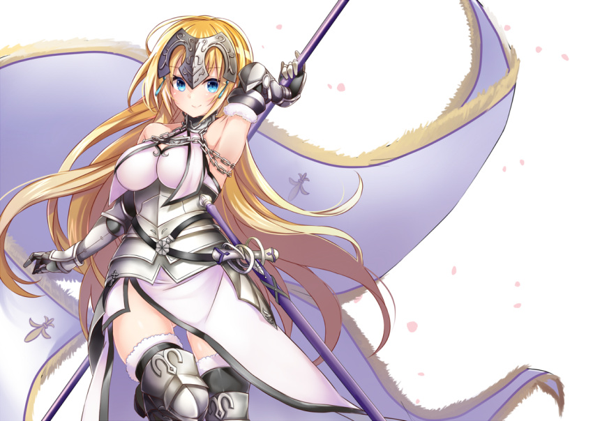1girl armor armored_boots armored_dress armpits ass_visible_through_thighs banner black_legwear blonde_hair blue_eyes boots breasts breasts_apart cherry_blossoms dress eyebrows_visible_through_hair fate/apocrypha fate_(series) faulds floating_hair fur-trimmed_legwear fur_trim gauntlets headpiece jeanne_d'arc_(fate) jeanne_d'arc_(fate)_(all) large_breasts leg_up long_hair looking_at_viewer mashiro_aa sheath sheathed simple_background sleeveless sleeveless_dress smile solo sword thigh-highs thigh_boots very_long_hair weapon white_background white_dress