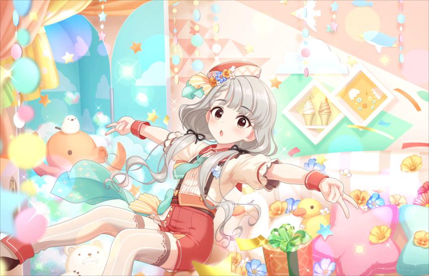 blush character_name dress grey_hair hisakawa_nagi idolmaster_cinderella_girls_starlight_stage long_hair twintails yellow_eyes