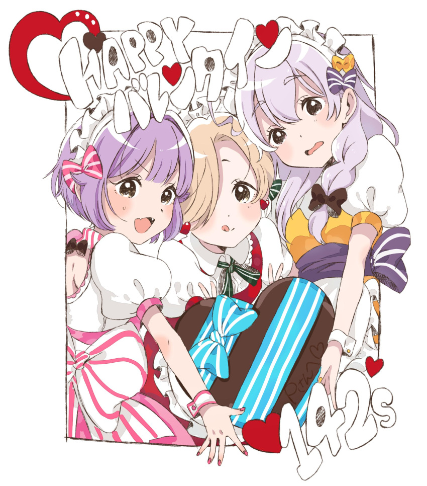 3girls :q absurdres ahoge apron asymmetrical_hair bangs black_eyes blonde_hair blush border bow bowtie braid chocolate chocolate_heart commentary dot_nose double_w dress earrings fang frilled_apron frills fumita_(humita322) girl_sandwich grey_hair group_name hair_between_eyes hair_bow hair_over_one_eye happy_valentine headdress heart heart_earrings highres holding_chocolate hoshi_shouko idolmaster idolmaster_cinderella_girls jewelry kawaii_boku_to_142's koshimizu_sachiko long_hair looking_at_viewer multiple_girls nail_polish open_mouth outstretched_arm pink_dress pink_nails puffy_sleeves purple_hair red_dress sandwiched sash shirasaka_koume short_eyebrows short_hair single_braid sweatdrop thick_eyebrows tongue tongue_out translated upper_body w wavy_mouth white_background wing_collar wrist_cuffs yellow_dress yellow_nails