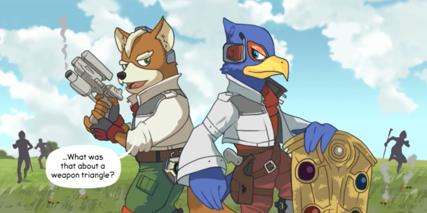 2others animal bird comic english falco_lombardi finalsmashcomic fire_emblem fox fox_mccloud furry gun hawk intelligent_systems nintendo nintendo_ead shield star_fox super_smash_bros. super_smash_bros._ultimate what yayster