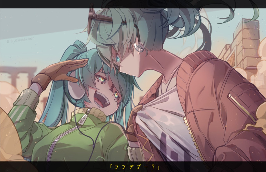 2girls aqua_eyes aqua_hair arch collarbone commentary creator_connection criss-cross_halter desert dual_persona earrings expressionless eyewear_on_head gloves glowing glowing_eyes green_jacket halterneck hands_up hatsune_miku headphones jacket jewelry leaning_back leaning_forward letterboxed long_hair matryoshka_(vocaloid) multiple_girls outdoors red_jacket sand shirt shirt_grab short_hair smile songover suna_no_wakusei_(vocaloid) sunglasses t-shirt translated twintails upper_body vocaloid wanaxtuco zipper