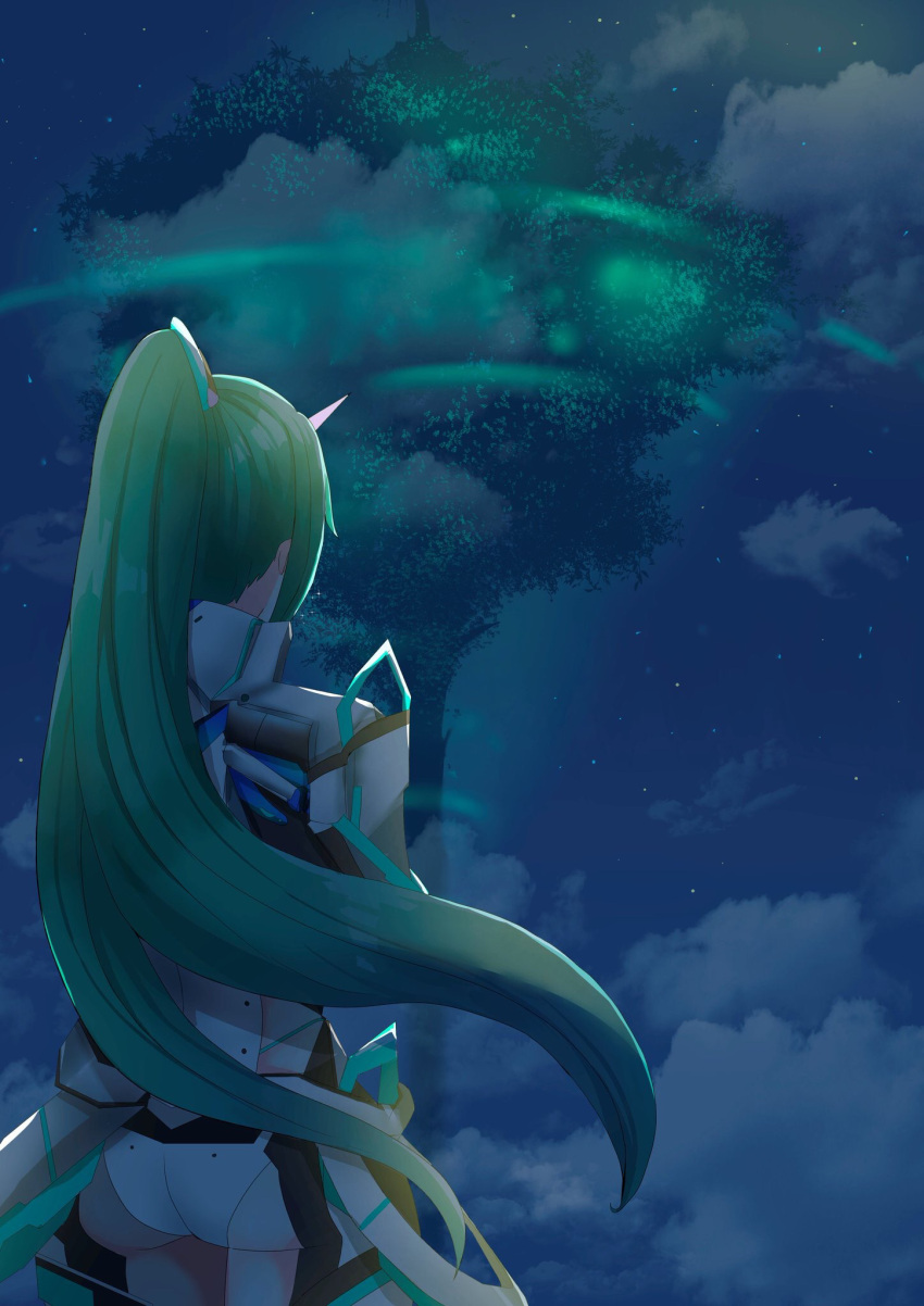 1girl armor ass back blue_sky clouds cloudy_sky commentary_request flat_ass from_behind glowing green_hair hair_ornament headpiece high_ponytail highres long_hair looking_afar nano_mik nape neon_trim night night_sky pneuma_(xenoblade_2) science_fiction shade sky solo spoilers standing star_(sky) starry_sky tiara tree very_long_hair wind wind_lift xenoblade_(series) xenoblade_2