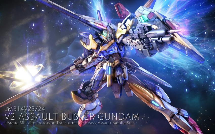 beam_rifle energy_gun english_text eske gun gundam highres mecha no_humans science_fiction shield space v2_gundam victory_gundam weapon