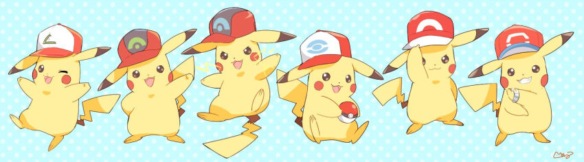 :3 adjusting_headwear arm_behind_back arm_up arms_up artist_name baseball_cap black_eyes blue_background blush_stickers bracelet closed_mouth cosplay electricity full_body gen_1_pokemon grin hands_up happy hat holding holding_poke_ball jewelry jpeg_artifacts jumping mei_(maysroom) no_humans one_eye_closed open_mouth outstretched_arms pikachu poke_ball poke_ball_(generic) poke_ball_symbol poke_ball_theme pokemon pokemon_(anime) pokemon_(classic_anime) pokemon_(creature) pokemon_bw_(anime) pokemon_dppt_(anime) pokemon_rse_(anime) pokemon_sm_(anime) pokemon_xy_(anime) polka_dot polka_dot_background red_headwear satoshi_(pokemon) satoshi_(pokemon)_(cosplay) signature simple_background sitting smile standing standing_on_one_leg teeth z-ring
