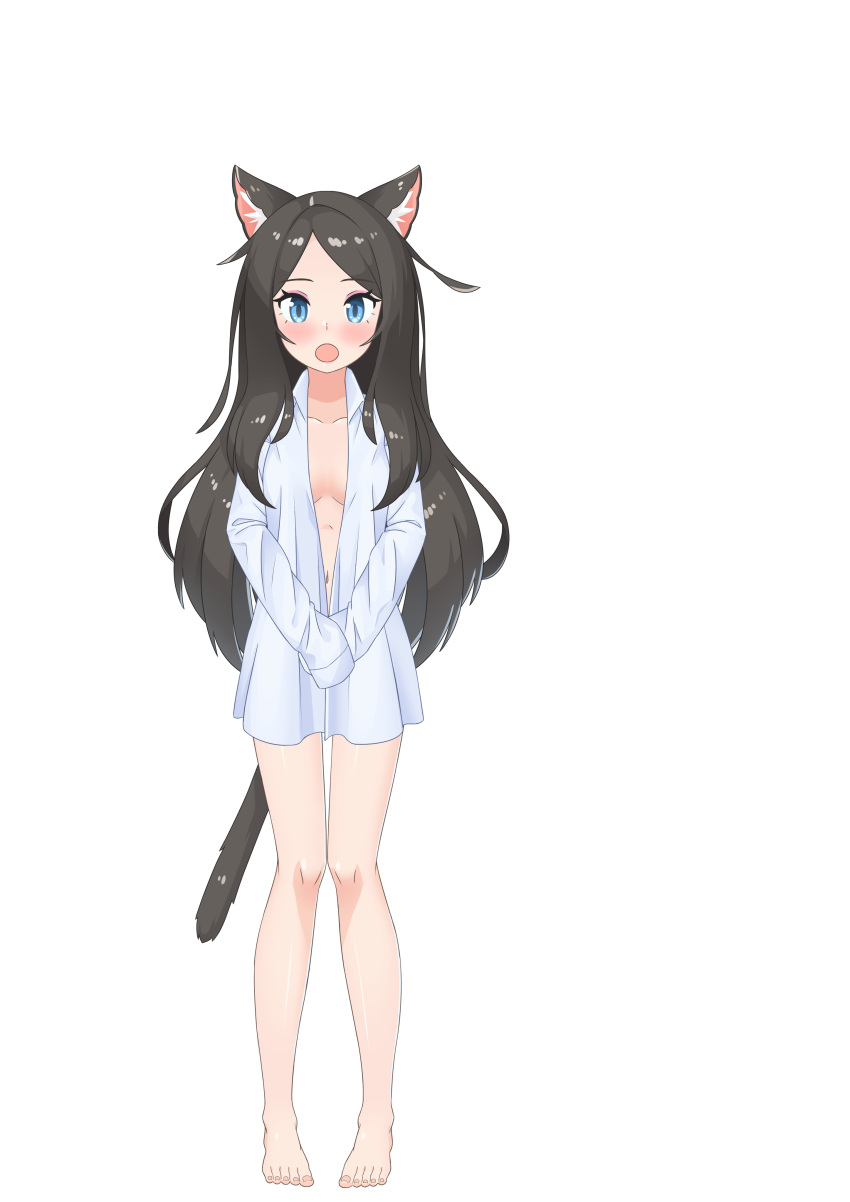 1girl absurdres animal_ears barefoot black_hair blue_eyes breasts cat_ears cat_tail commentary_request dress_shirt full_body hands_together highres long_hair naked_shirt navel nekoze_(s22834712) no_bra no_pants open_clothes open_mouth open_shirt original shirt simple_background sleeves_past_wrists solo tail thigh_gap toes tu_ya_(nekoze) unbuttoned unbuttoned_shirt white_background white_shirt