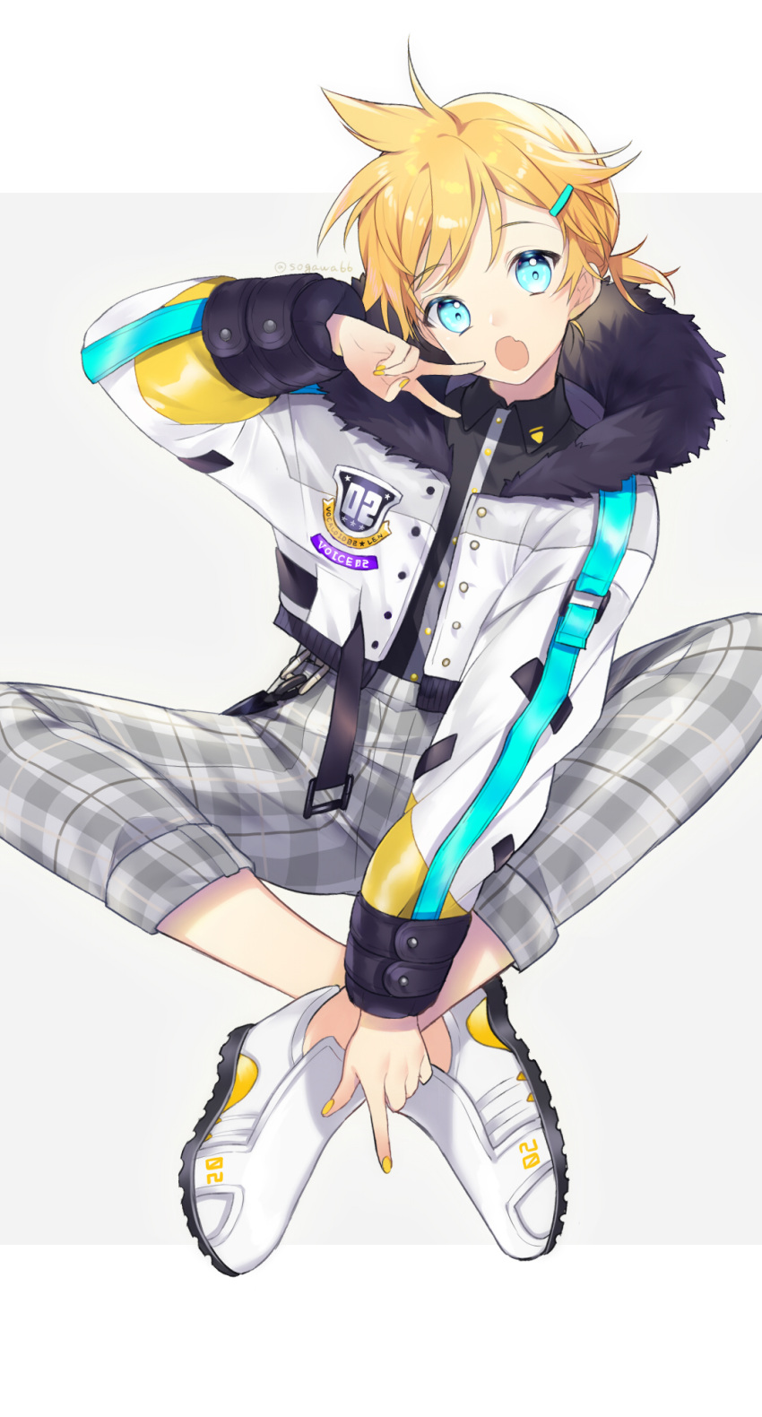 1boy :o bangs black_shirt blonde_hair blue_eyes character_name collared_shirt copyright_name crossed_ankles dress_shirt eyebrows_visible_through_hair fang fingernails fur-trimmed_jacket fur_trim grey_background grey_pants hair_ornament hairclip head_tilt highres jacket kagamine_len long_sleeves looking_at_viewer male_focus open_clothes open_jacket open_mouth pants plaid plaid_pants puffy_long_sleeves puffy_sleeves shirt shoes sitting sogawa solo twitter_username two-tone_background v vocaloid white_background white_footwear white_jacket yellow_nails
