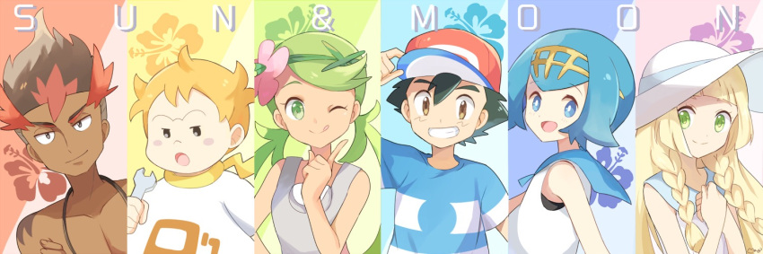 3boys 3girls adjusting_headwear arm_up artist_name bangs bare_shoulders baseball_cap black_eyes black_hair blonde_hair blue_eyes blue_hair blue_sailor_collar blue_shirt blush_stickers braid brown_eyes brown_hair chest closed_mouth collarbone copyright_name dark_skin dark_skinned_male dress flat_chest flower green_hair green_hairband grin hair_flower hair_ornament hairband half-closed_eyes hand_up hands_together hands_up hat holding jpeg_artifacts kaki_(pokemon) lillie_(pokemon) long_hair looking_at_viewer mamane_(pokemon) mao_(pokemon) mei_(maysroom) multicolored_hair multiple_boys multiple_girls open_mouth overalls pink_flower pointing pointing_up pokemon pokemon_(anime) pokemon_sm_(anime) red_headwear redhead sailor_collar satoshi_(pokemon) shirt shirtless short_hair short_sleeves signature sleeveless sleeveless_dress sleeveless_shirt smile striped striped_shirt suiren_(pokemon) sun_hat teeth tied_hair twin_braids twintails two-tone_hair upper_body white_dress white_headwear white_shirt wrench yellow_hairband