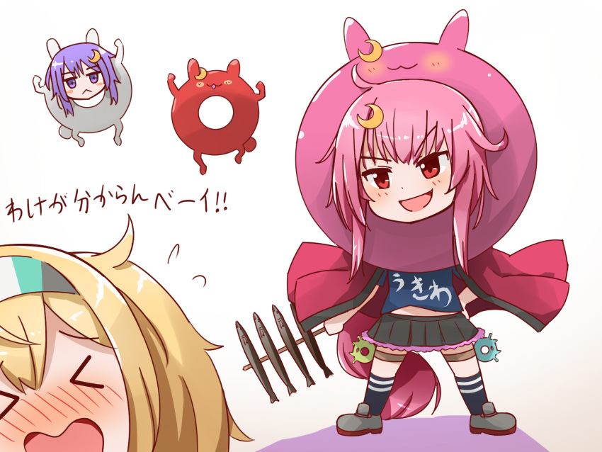 >_< 3girls :< :3 :d ahoge alternate_costume blonde_hair blush blush_stickers casual commentary crescent crescent_hair_ornament enemy_lifebuoy_(kantai_collection) eyebrows_visible_through_hair fish food gambier_bay_(kantai_collection) hair_ornament hairband hand_on_hip happi highres holding holding_food japanese_clothes kantai_collection kneehighs long_hair miccheru midriff multiple_girls open_mouth pink_hair purple_hair red_eyes redhead rudder_footwear short_hair_with_long_locks skewer skirt smile standing sweatdrop translated uzuki_(kantai_collection) v-shaped_eyebrows violet_eyes wavy_mouth yayoi_(kantai_collection)