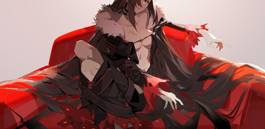 1girl bangs black_choker black_dress breasts brown_hair center_opening choker closed_mouth collarbone commentary consort_yu_(fate) couch dress elbow_rest fate/grand_order fate_(series) fur-trimmed_jacket fur_collar fur_trim groin hair_over_one_eye half-closed_eyes jacket jewelry legs_together long_hair looking_at_viewer medium_breasts navel nine_(liuyuhao1992) open_clothes red_eyes revealing_clothes sidelocks sitting solo stomach symbol_commentary twisted_torso very_long_hair