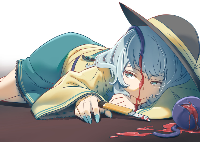 1girl bleeding blood blood_on_face boxcutter fingernails green_eyes green_hair green_nails green_skirt hat highres injury kawayabug komeiji_koishi nail_polish on_ground self-mutilation shirt simple_background skirt slit_pupils solo third_eye touhou veins yellow_shirt