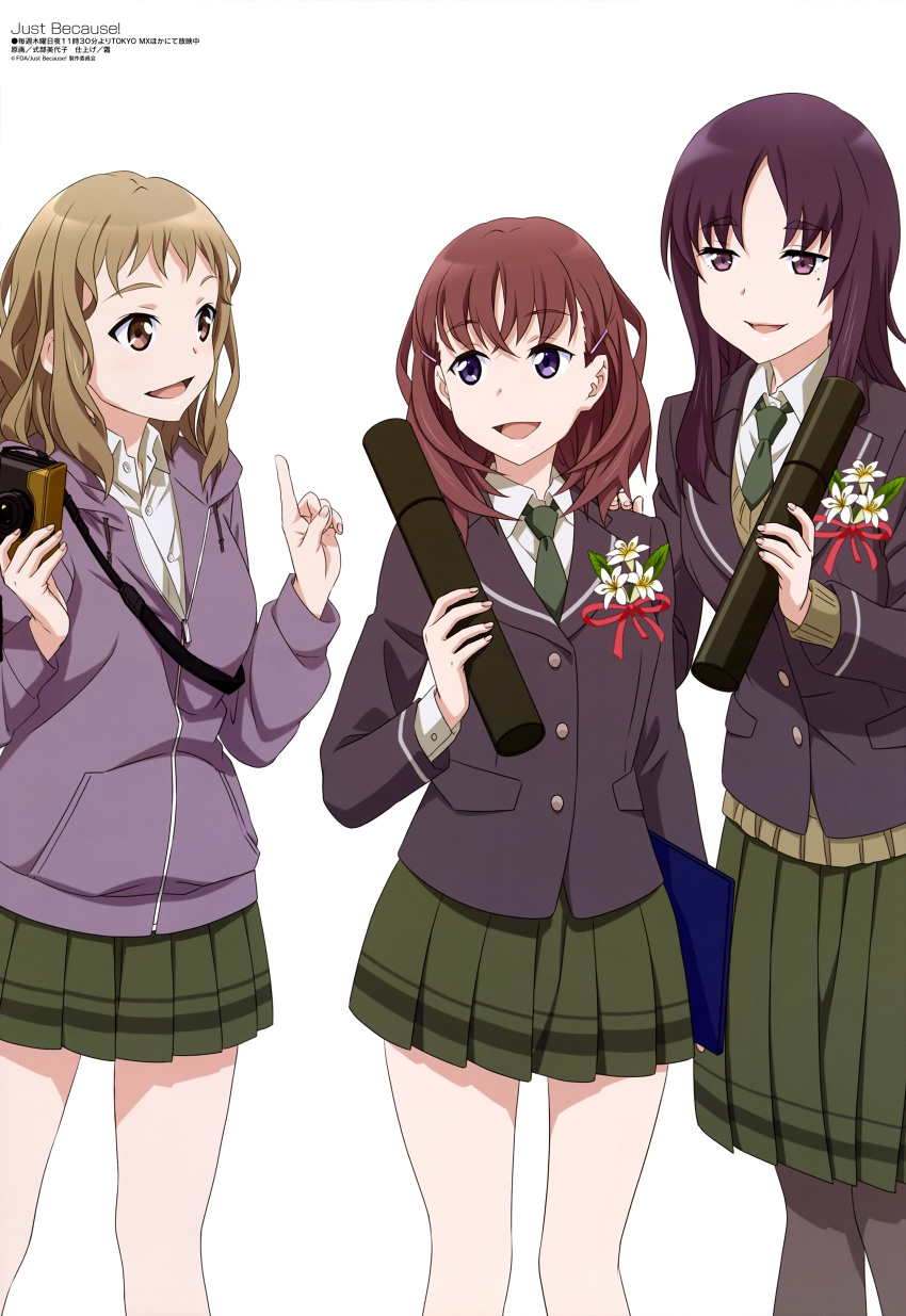 3girls :d absurdres bangs bare_legs black_jacket breasts brown_hair brown_sweater brown_vest camera collared_shirt crossed_bangs eyebrows_visible_through_hair fingernails flower flower_request green_neckwear green_skirt grey_legwear hair_ornament hairclip hand_on_another's_shoulder highres holding holding_camera holding_notebook index_finger_raised jacket just_because! komiya_ena large_breasts light_brown_eyes light_brown_hair looking_at_another magazine_scan medium_breasts medium_hair megami miniskirt mole mole_under_eye morikawa_hazuki multiple_girls nail_polish natsume_mio necktie object_request official_art open_mouth pantyhose pigeon-toed pink_eyes pink_jacket pink_nails pleated_skirt purple_hair red_ribbon ribbon scan school_uniform shikibu_miyoko shiny shiny_hair shirt simple_background skirt smile standing sweater sweater_vest thigh-highs tongue vest violet_eyes white_background white_flower white_shirt