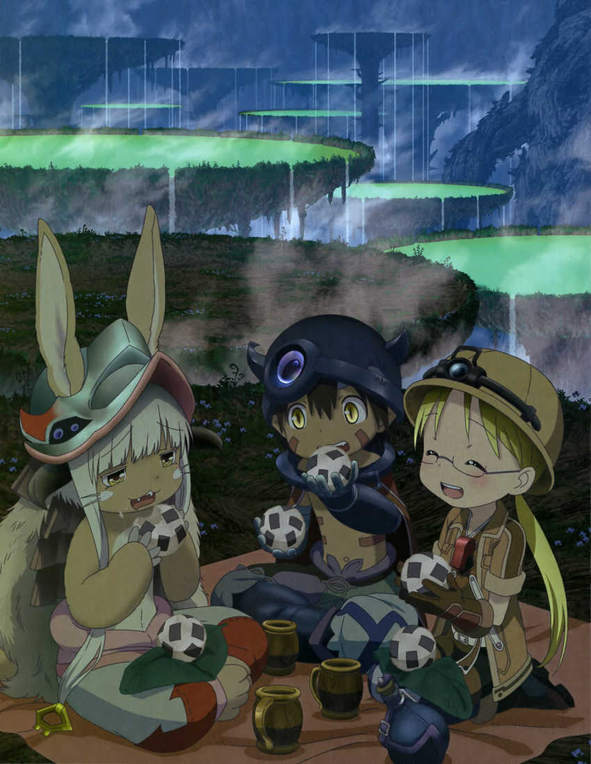 1boy 1girl 1other absurdres ambiguous_gender animal_ears artist_request blonde_hair blush boots brown_footwear brown_gloves brown_hair closed_eyes facing_another fangs food furry glasses gloves helmet highres long_hair looking_at_another looking_away made_in_abyss nanachi_(made_in_abyss) official_art onigiri open_mouth pith_helmet regu_(made_in_abyss) riko_(made_in_abyss) scan semi-rimless_eyewear short_hair sitting smile tail teeth under-rim_eyewear whistle whistle_around_neck white_hair yellow_eyes