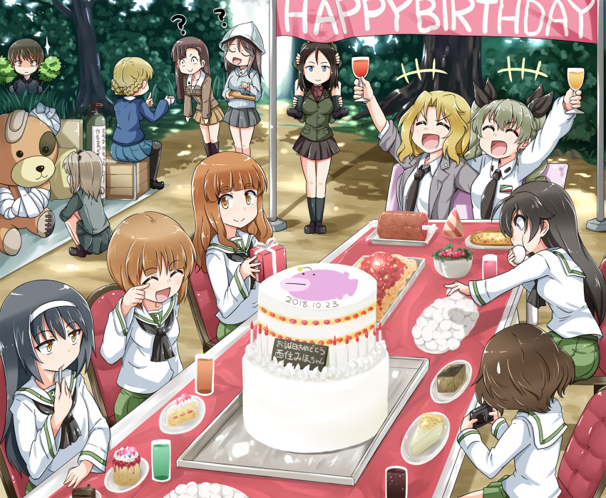 +++ 6+girls :d :  ? ahoge akiyama_yukari anchovy anglerfish animal_costume ankle_boots anzio_school_uniform arm_around_back arm_sling arm_up asymmetrical_bangs bandages bandaid bangs bear_costume birthday birthday_cake black_eyes black_footwear black_hair black_jacket black_legwear black_neckwear black_ribbon black_skirt blazer blonde_hair blouse blue_eyes blue_headwear blue_shirt blue_skirt blue_sweater blunt_bangs boko_(girls_und_panzer) boots box braid brown_eyes brown_hair brown_jacket bush cake carrying chair chi-hatan_military_uniform closed_eyes closed_mouth collared_blouse commentary confused constricted_pupils cup dappled_sunlight darjeeling dated disguise dress_shirt drill_hair drinking_glass eating emblem english_text eyebrows_visible_through_hair food frown gift girls_und_panzer green_hair green_jacket green_skirt grey_jacket grey_shirt grey_skirt hair_intakes hair_ribbon hairband happy happy_birthday hat hiding highres holding holding_cup holding_gift holding_instrument instrument isuzu_hana jacket kantele katyusha kay_(girls_und_panzer) keizoku_school_uniform kitayama_miuki knee_boots kuromorimine_school_uniform laughing leaning_forward light_brown_hair loafers long_hair long_sleeves looking_at_another meat messy_hair mika_(girls_und_panzer) military military_uniform miniskirt multiple_girls music neckerchief necktie nishi_kinuyo nishizumi_maho nishizumi_miho nonna one_side_up onigiri ooarai_school_uniform open_clothes open_jacket open_mouth orange_eyes orange_hair outdoors pantyhose pasta picnic plate playing_instrument pleated_skirt pointing pointing_up pravda_school_uniform red_shirt reizei_mako ribbon saunders_school_uniform school_uniform scuba_tank selection_university_military_uniform serafuku shimada_arisu shirt shoes short_hair shoulder_carry siblings sisters sitting skirt sleeves_rolled_up smile socks sparkle squatting st._gloriana's_school_uniform standing striped striped_shirt sunlight sweatdrop sweater table takebe_saori taking_picture tea