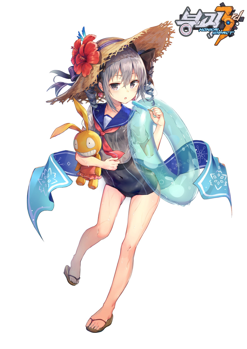 1girl absurdres bangs benghuai_xueyuan bronya_zaychik covered_navel drill_hair earrings flower food full_body grey_eyes grey_hair hat hat_flower hat_ribbon highres holding homu_(honkai_impact) honkai_(series) honkai_impact_3rd huwali_(dnwls3010) innertube jewelry looking_at_viewer one-piece_swimsuit open_mouth popsicle ribbon sailor_collar sandals school_swimsuit shirt short_sleeves solo straw_hat stuffed_animal stuffed_toy swimsuit swimsuit_under_clothes towel twin_drills wet wet_clothes wet_shirt