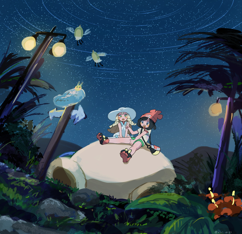 2girls artist_name bad_id bad_pixiv_id bag bare_shoulders beanie black_eyes black_hair blue_sky blush blush_stickers chestnut_mouth cutiefly directional_arrow dress dutch_angle floral_print flower full_body grass green_eyes green_shorts hand_up happy hat kneehighs lamppost lillie_(pokemon) looking_up mizuki_(pokemon) multiple_girls night night_sky open_mouth outdoors pikachu poke_ball_symbol poke_ball_theme pokemon pokemon_(creature) pokemon_(game) pokemon_sm red_flower red_footwear red_headwear ririmon shirt shoes short_hair short_shorts short_sleeves shorts sign signature sitting sky sleeveless sleeveless_dress smile snorlax spread_legs star_(sky) starry_sky sun_hat teeth tree twitter_username white_dress white_headwear white_legwear yellow_shirt