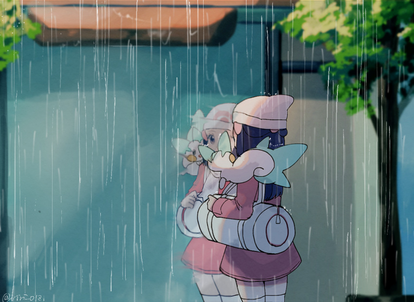 1girl artist_name bad_id bad_pixiv_id bag beanie blue_hair blush_stickers cowboy_shot duffel_bag grey_eyes hair_ornament hairclip hand_up hat hikari_(pokemon) long_hair open_mouth outdoors pachirisu pink_coat poke_ball_symbol poke_ball_theme pokemon pokemon_(creature) pokemon_(game) pokemon_dppt pokemon_on_shoulder pokemon_platinum rain reflection ririmon signature standing thigh-highs tied_hair tree twitter_username white_headwear white_legwear window zettai_ryouiki