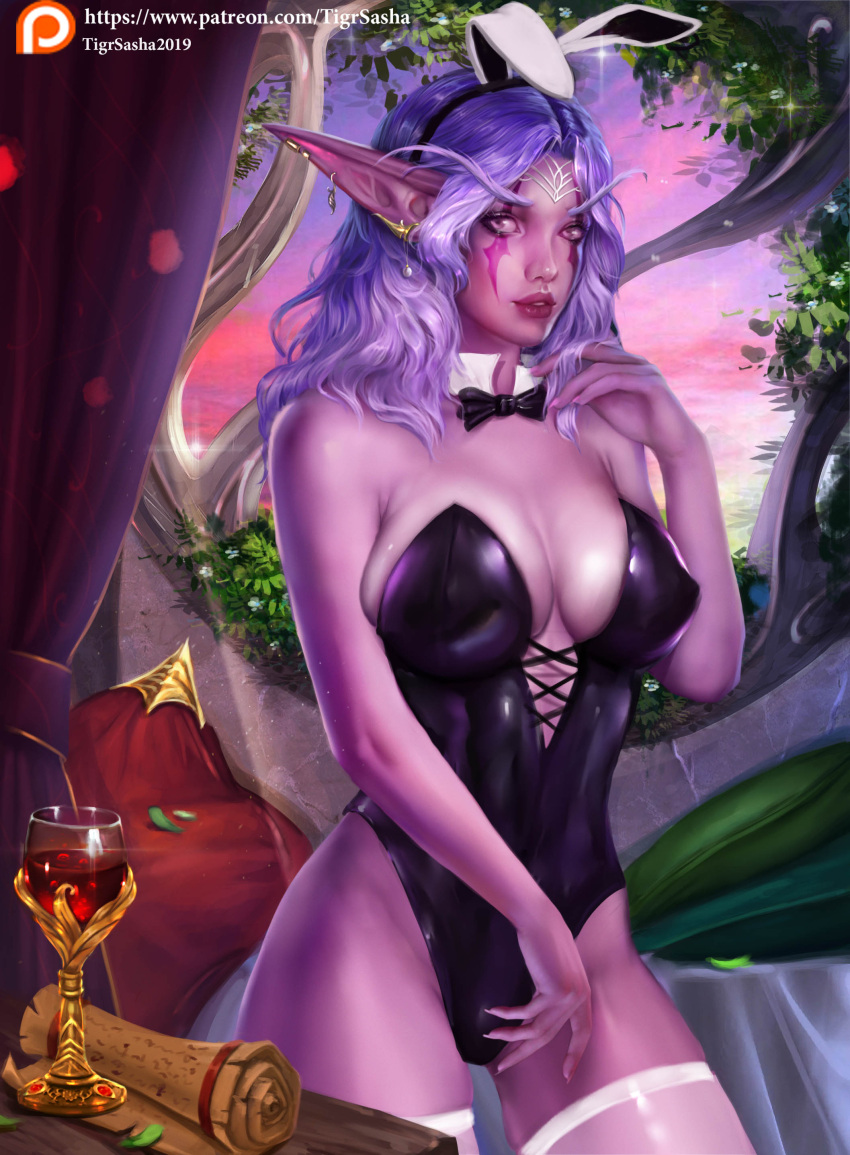 blizzard_entertainment long_hair looking_at_viewer night_elf patreon_username purple_hair purple_skin rabbit_ears ribbon tigrsasha wine world_of_warcraft