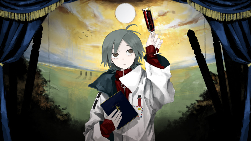 1boy absurdres ahoge bible black_eyes brown_eyes coat commentary_request cup curtains drinking_glass grey_hair highres honda_souichi jacket looking_up male_focus original short_hair track_jacket wine_glass