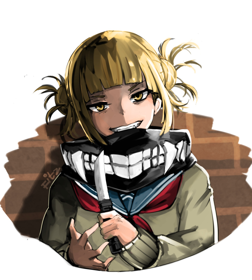 1girl bangs blonde_hair blunt_bangs boku_no_hero_academia double_bun fitz_(fita_is_the_smartest) grey_sweater grin head_tilt highres holding holding_knife knife looking_at_viewer neckerchief red_neckwear sailor_collar school_uniform serafuku short_hair sidelocks simple_background smile solo sweater tied_hair toga_himiko upper_body white_background yellow_eyes
