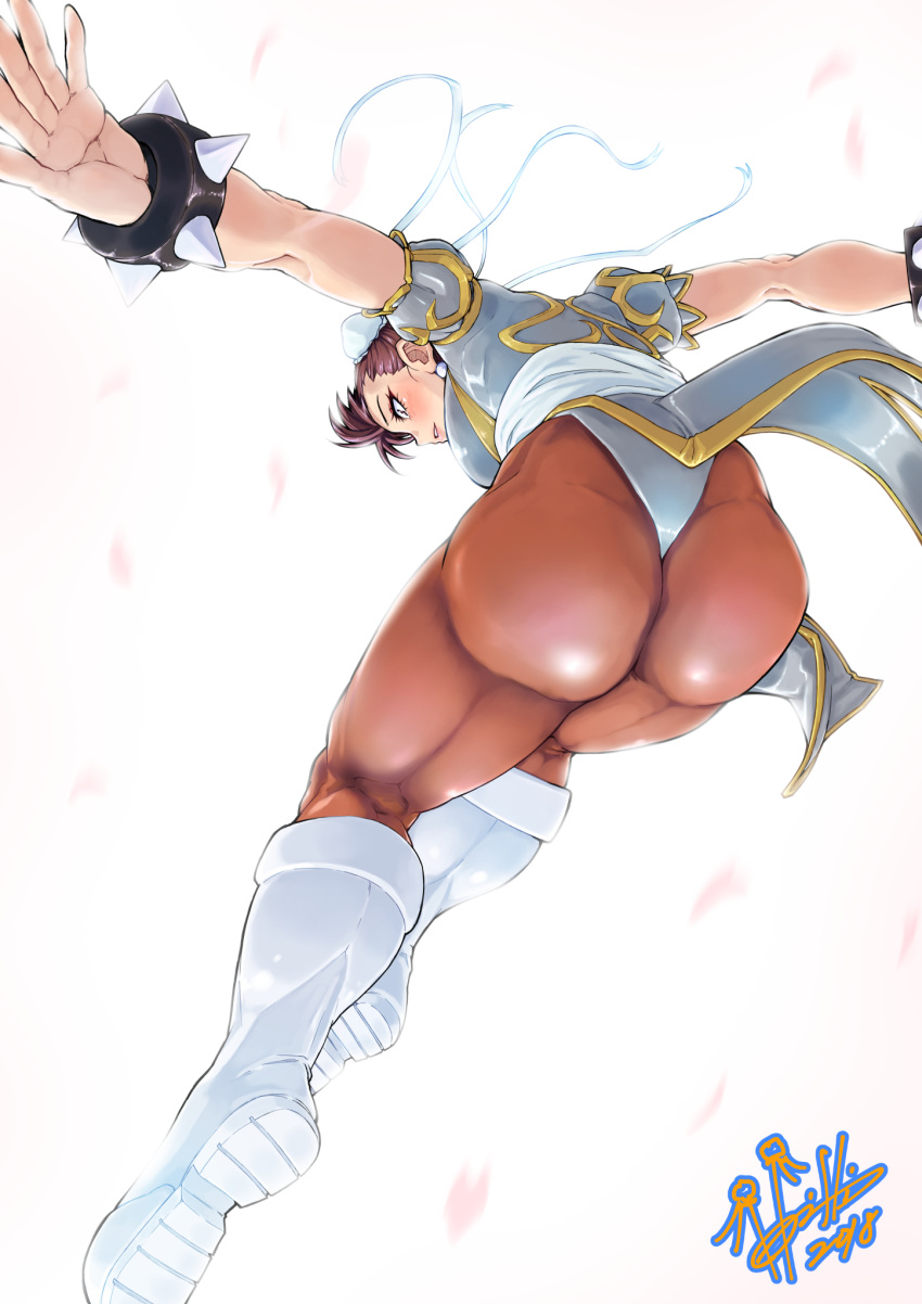 1girl ass blue_dress boots bracelet brown_eyes brown_hair brown_legwear bun_cover china_dress chinese_clothes chun-li commentary_request cross-laced_footwear double_bun dress earrings eyeliner falling gold_trim highres hori_shin jewelry kneepits makeup pantyhose pelvic_curtain puffy_sleeves sash short_sleeves side_slit signature solo spiked_bracelet spikes street_fighter thighs white_background white_footwear