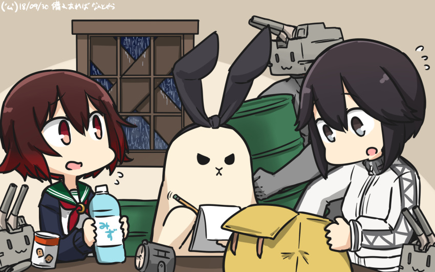 2girls animalization bag black_eyes black_hair bottle can canned_food check_commentary commentary_request dated drum_(container) flying_sweatdrops gradient_hair green_sailor_collar hamu_koutarou hayasui_(kantai_collection) highres holding jacket kantai_collection moon_(ornament) multicolored_hair multiple_girls mutsuki_(kantai_collection) neckerchief notepad open_mouth pencil rain red_neckwear redhead rensouhou-chan sailor_collar school_uniform serafuku shimakaze_(kantai_collection) shimakaze_(seal) short_hair spotlight translated water_bottle window writing