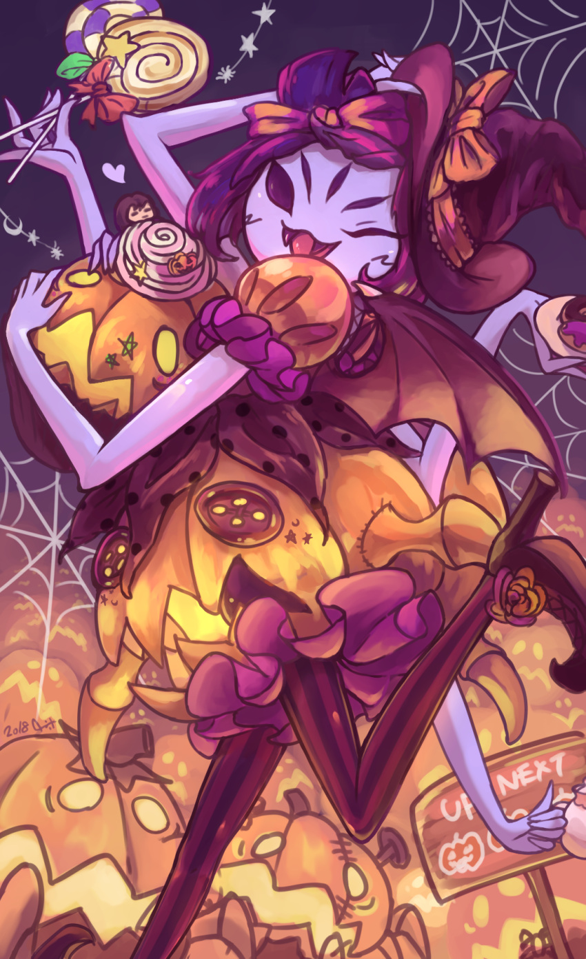 1girl ;d arm_up bat_wings black_background black_hair black_headwear bow candy cupcake dated doughnut extra_eyes fangs food frisk_(undertale) hair_bow halloween hat hat_bow highres holding_candy holding_pumpkin insect_girl jack-o'-lantern lollipop monster_girl muffet muffet's_pet multiple_arms one_eye_closed open_mouth orange_bow pantyhose puffy_short_sleeves puffy_sleeves purple_skin shake_(nogard) short_sleeves silk smile spider_girl spider_web striped striped_legwear teapot tongue tongue_out undertale wings witch_hat