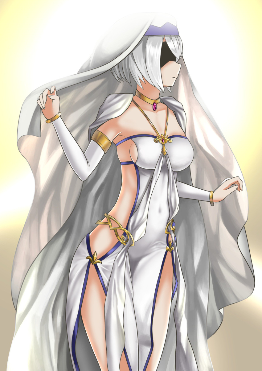 1girl absurdres alternate_costume armlet black_blindfold blindfold breasts cape collarbone cosplay covered_eyes dress expressionless full_body gem goblin_slayer! gold highres jewelry medium_breasts necklace nier_(series) nier_automata no_bra no_panties short_hair sideboob solo sword_maiden sword_maiden_(cosplay) the_only_shoe veil white_cape white_dress white_hair yorha_no._2_type_b