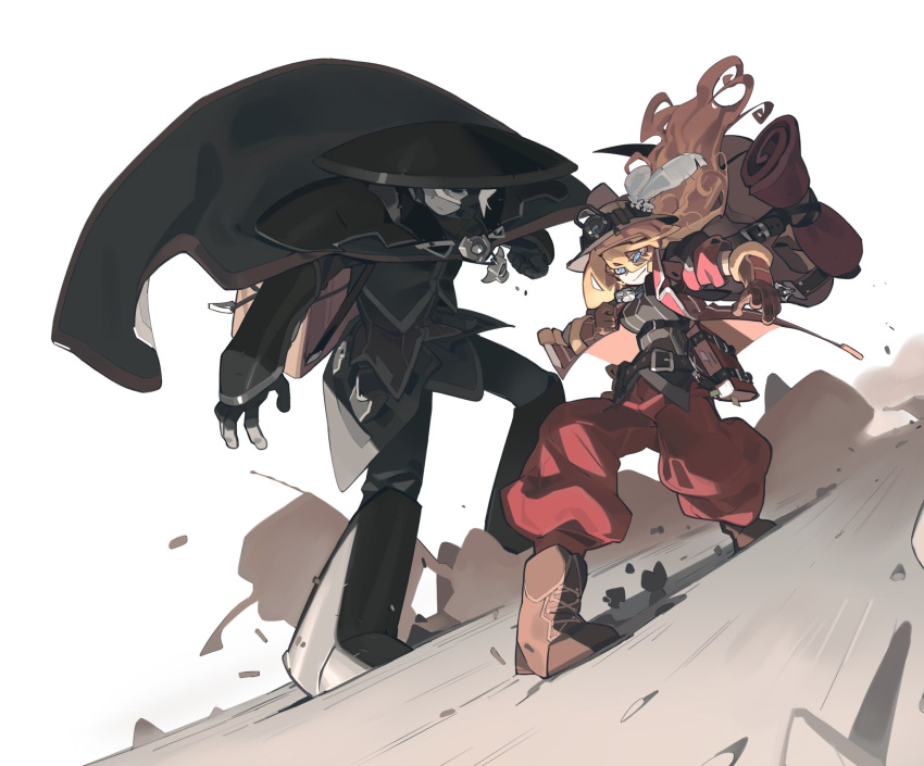 2girls bag baggy_pants belt belt_buckle black_eyes black_hair black_headwear black_jacket black_pants blonde_hair blue_eyes book boots brown_headwear buckle cape commentary gauntlets gloves hat hat_feather helmet highres jacket knifedragon lyza made_in_abyss multicolored_hair multiple_girls ozen pants pauldrons pith_helmet pouch symbol_commentary two-tone_hair whistle white_hair