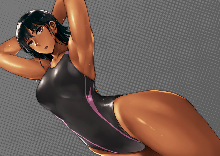 1girl armpits arms_behind_head bangs black_hair black_swimsuit breasts competition_swimsuit dark_skin dutch_angle grey_background halftone halftone_background looking_at_viewer one-piece_swimsuit one-piece_tan open_mouth original short_hair solo swimsuit takebouzu tan tanline thighs toned violet_eyes wet