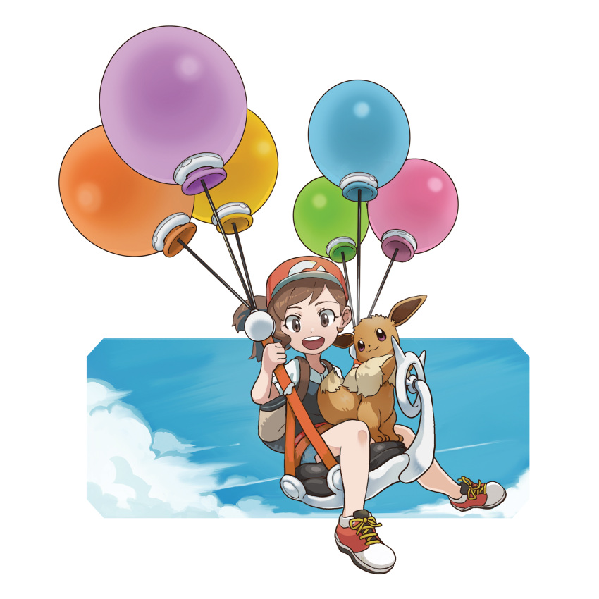 1girl :3 artist_request ayumi_(pokemon) backpack bag balloon baseball_cap black_shirt blue_shorts blue_sky brown_eyes brown_hair chestnut_mouth child clouds commentary day eevee english_commentary flat_chest floating full_body gen_1_pokemon hand_up happy hat highres looking_down mizutani_megumi official_art open_mouth outdoors outline poke_ball_symbol poke_ball_theme pokemon pokemon_(creature) pokemon_(game) pokemon_lgpe ponytail red_footwear redhead shiny shiny_hair shirt shoes short_shorts short_sleeves shorts sitting sky smile teeth tied_hair tiptoes transparent_background violet_eyes white_outline