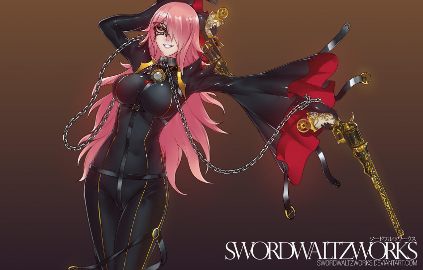 1girl bayonetta black_bodysuit black_gloves black_sclera blazblue bodysuit breasts cape chain commentary cosplay dual_wielding english_commentary glasses gloves grin gun hair_over_one_eye handgun highres holding jewelry konoe_a_mercury large_breasts long_hair looking_at_viewer open_mouth pink_hair rosa_(bayonetta) rosa_(bayonetta)_(cosplay) smile swordwaltzworks thigh-highs weapon yellow_eyes