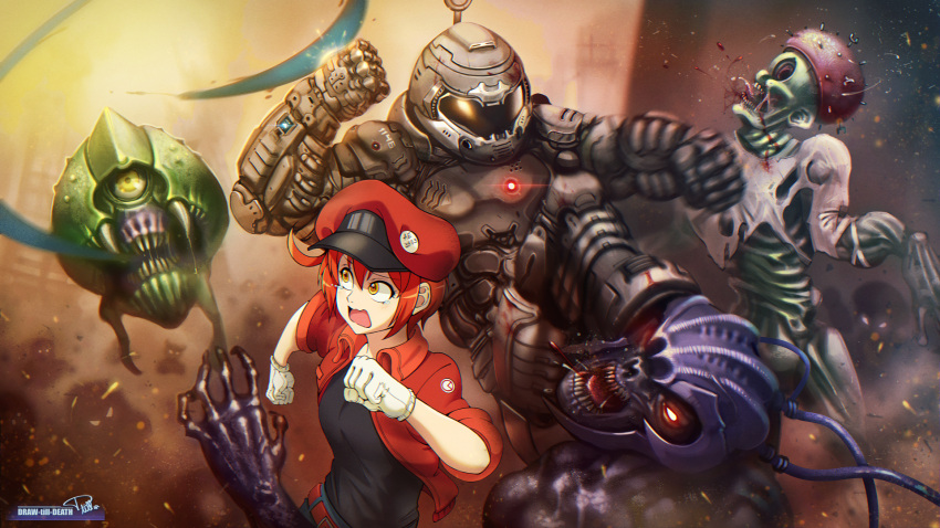 1boy 1girl ae-3803 artist_name blood brown_eyes cabbie_hat commentary crossover crying crying_with_eyes_open doom_(2016) doom_(game) doomguy draw-till-death english_commentary gloves hat hataraku_saibou helmet highres kicking monster power_armor punching red_blood_cell_(hataraku_saibou) redhead running sharp_teeth skeleton tears teeth u-1146 wavy_mouth white_blood_cell_(hataraku_saibou) white_gloves