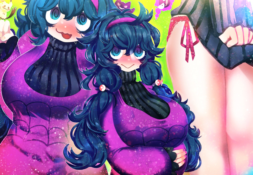 1girl @_@ ahoge al_bhed_eyes alternate_costume alternate_hairstyle artist_name bangs black_eyes blue_hair blush breasts closed_mouth commentary_request dress gastly gen_1_pokemon gen_7_pokemon gengar green_background hair_tie hairband hakkasame hand_up hex_maniac_(pokemon) lace lace-trimmed_panties large_breasts legs legs_together long_hair long_sleeves lower_body messy_hair mimikyu multiple_views nail_polish nose_blush npc_trainer open_mouth panties pink_nails pink_panties poke_ball_theme pokemon pokemon_(creature) pokemon_(game) pokemon_xy purple_dress purple_hair purple_hairband purple_sweater red_sclera ribbed_sweater shiny shiny_hair shirt_tug side-tie_panties simple_background smile standing sweat sweater teeth turtleneck turtleneck_dress twintails twitter_username underwear upper_body violet_eyes wavy_mouth