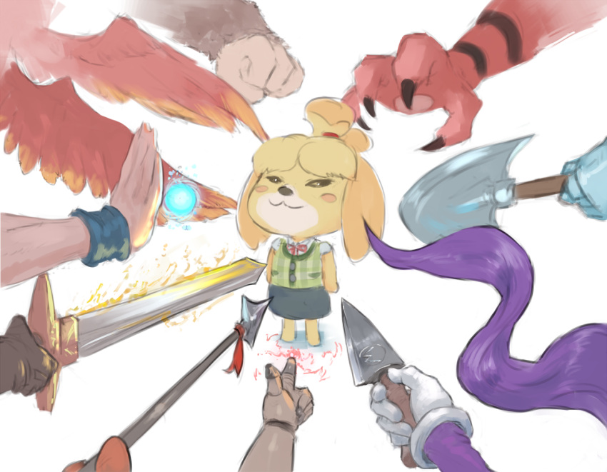 1girl :3 animal_ears annotated assist_trophy bandana_waddle_dee banjo-kazooie banjo_(banjo-kazooie) blonde_hair blush_stickers camelot_(company) capcom commentary crossover cutesexyrobutts dairantou!_smash_brothers dairantou!_smash_brothers_special dairantou!_smash_brothers_x dog_ears dog_girl doubutsu_no_mori dragon_ball english_commentary geno_(mario) golden_sun hal_laboratory_inc. hoshi_no_kirby incineroar john_wick kazooie_(banjo-kazooie) kirby_(series) knife knife_cat_(meme) logo mario_(series) meme multiple_crossover nintendo_ead plaid plaid_shirt pokemon prehensile_hair rareware robin_(golden_sun) shantae_(character) shantae_(series) shirt shizue_(doubutsu_no_mori) shovel_knight shovel_knight_(character) simple_background skirt smug solid_oval_eyes solo_focus son_gokuu sora_(company) square_enix super_mario_rpg super_smash_bros. super_smash_bros._ultimate super_smash_bros_brawl super_smash_bros_crusade super_smash_bros_legacy_xp super_smash_flash_2 sword tobidase:_doubutsu_no_mori v-shaped_eyebrows waluigi wayforward_inc. weapon white_background yacht_club_games