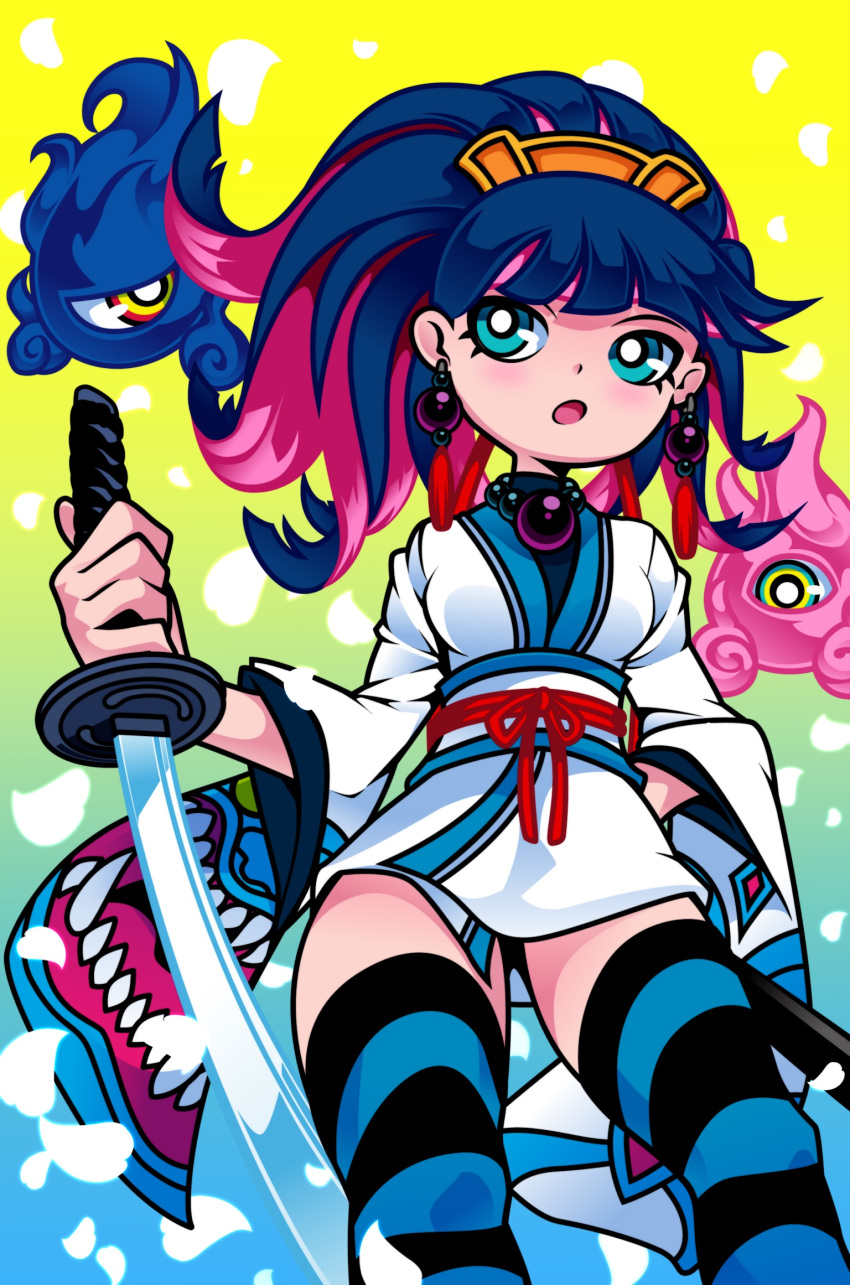 1girl alternate_hairstyle black_hair blue_legwear breasts contrapposto dqn_(rokomoko0) earrings green_eyes hand_on_hip highres holding holding_sword holding_weapon japanese_clothes jewelry katana kimono long_hair medium_breasts monster multicolored_hair necklace obi official_style panty_&_stocking_with_garterbelt pearl_necklace petals pink_hair reverse_grip sash short_kimono solo_focus standing stocking_(psg) striped striped_legwear sword thigh-highs two-tone_hair updo weapon wide_hips zettai_ryouiki