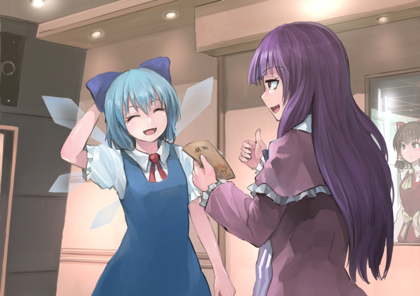 3girls blue_bow blush bow brown_hair cirno closed_eyes closed_mouth cookie_(touhou) eyebrows_visible_through_hair facing_another hair_bow hair_tubes hakurei_reimu ichiba_youichi kanna_(cookie) kurikinton_(cookie) looking_at_another mirror multiple_girls open_mouth patchouli_knowledge purple_hair red_bow short_hair smile standing taisa_(cookie) touhou translated violet_eyes