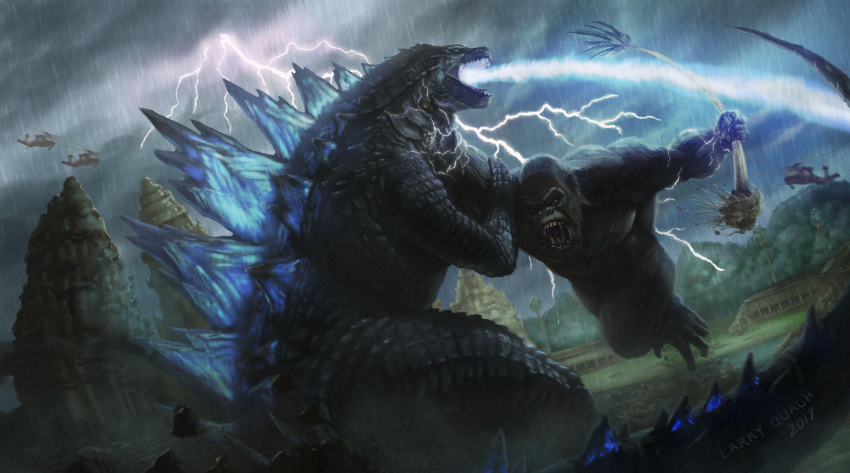 aircraft animal battle beam claws clouds cloudy_sky commentary crossover dinosaur duel electricity english_commentary fangs forest giant godzilla godzilla_(2014) godzilla_(series) godzilla_vs_kong gorilla helicopter highres kaijuu king_kong king_kong_(character) kong:_skull_island larry_quach lightning monster muscle nature no_humans open_mouth oversized_animal rain realistic scales sharp_teeth sky tail teeth tree tree_branch