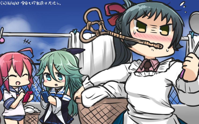 3girls ahoge angry aqua_eyes aqua_hair bare_shoulders black_ribbon blouse blue_neckwear blue_skirt blush breasts brown_neckwear cellphone chibi clenched_hand closed_eyes commentary_request day detached_sleeves green_hair hair_between_eyes hair_ribbon hamu_koutarou highres i-168_(kantai_collection) irako_(kantai_collection) kantai_collection kappougi long_hair medium_breasts multiple_girls necktie open_mouth outdoors phone pink_blouse pink_hair pleated_skirt ponytail ribbon rug_beater school_uniform serafuku skirt sky smartphone sweatdrop swimsuit swimsuit_under_clothes translated very_long_hair yamakaze_(kantai_collection) yellow_eyes