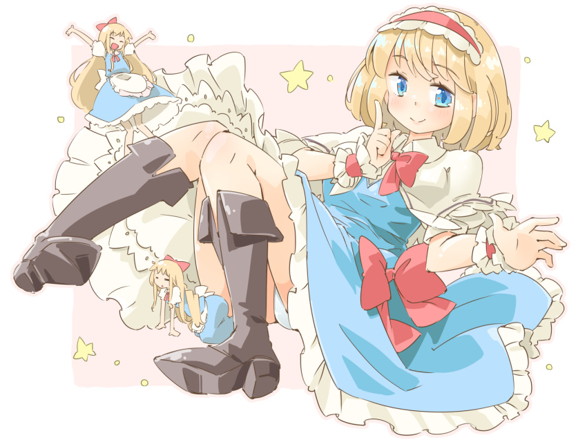 3girls :d :o ^_^ alice_margatroid all_fours apron arnest bangs black_footwear blonde_hair blue_dress blue_eyes blue_panties boots border bow bowtie capelet closed_eyes commentary_request dress eyebrows_visible_through_hair frilled_apron frilled_hairband frills full_body hair_bow hairband head_tilt index_finger_raised knees_up lolita_hairband long_hair looking_at_viewer lying multiple_girls neck_ribbon on_back open_mouth outside_border panties pantyshot pantyshot_(lying) parted_lips petticoat pink_background pink_outline red_bow red_hairband red_neckwear red_ribbon ribbon shanghai_doll short_hair simple_background smile star thighs touhou underwear very_long_hair waist_apron white_apron white_border white_capelet wrist_cuffs