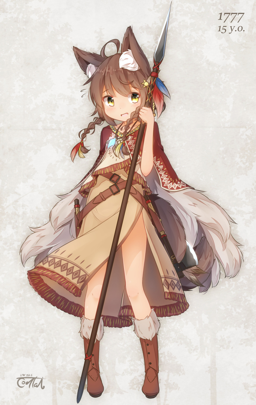 1777 1girl :d absurdres ahoge animal_ear_fluff animal_ears bare_legs belt boots braid brown_hair cape capelet commentary coreytaiyo dagger dated feathers flying_sweatdrops full_body fur-trimmed_boots fur_cape fur_trim hair_feathers hatchet highres holding holding_spear holding_weapon jewelry leather leather_boots medium_hair native_american open_mouth original pendant polearm sheath sheathed signature smile spear standing tail traditional_clothes twin_braids weapon western western_hatchet yellow_eyes