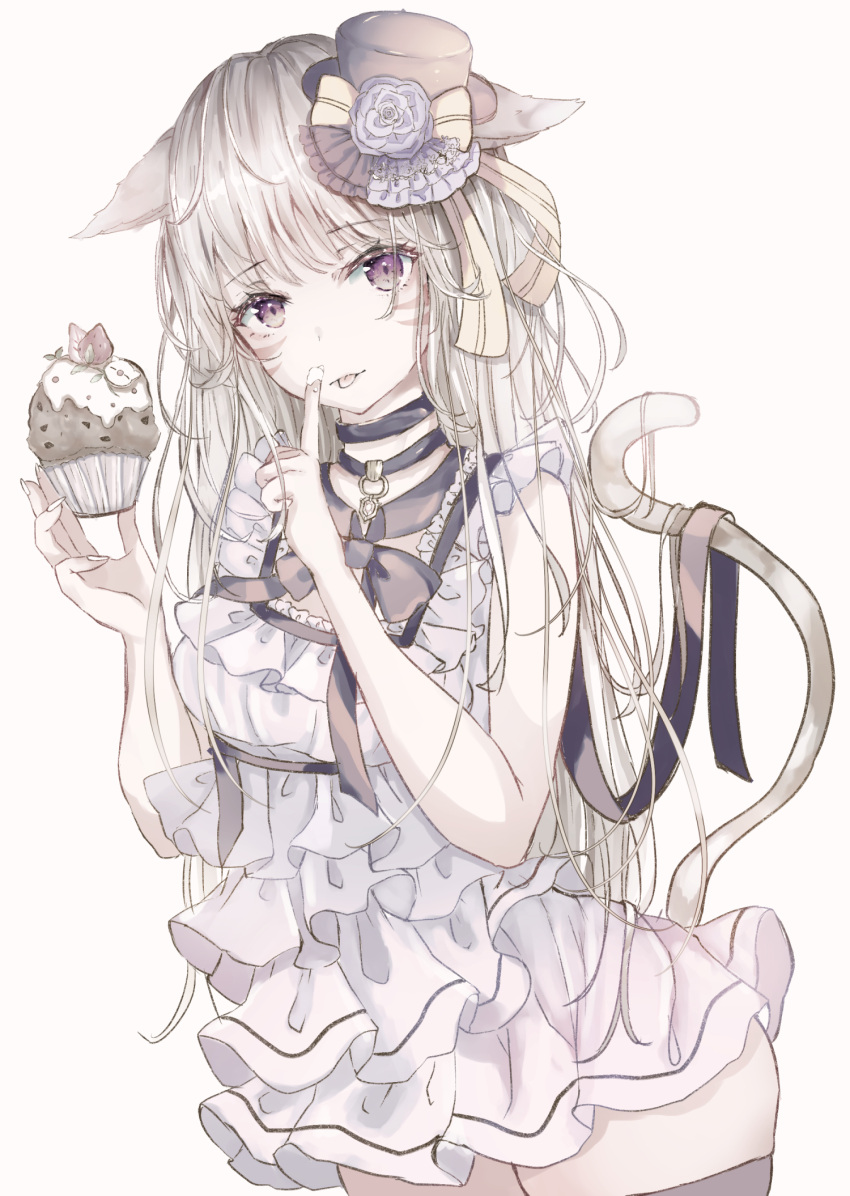 1girl :p animal_ears bare_arms bare_shoulders black_choker black_ribbon blue_flower breasts cat_ears cat_tail choker commentary_request cowboy_shot cupcake dress final_fantasy final_fantasy_xiv flower food frilled_dress frills hands_up hat highres holding holding_food index_finger_raised long_hair looking_at_viewer mini_hat miqo'te ribbon rose sakura_mochiko silver_hair simple_background small_breasts solo standing tail thigh-highs tongue tongue_out violet_eyes white_background white_dress yellow_ribbon zettai_ryouiki
