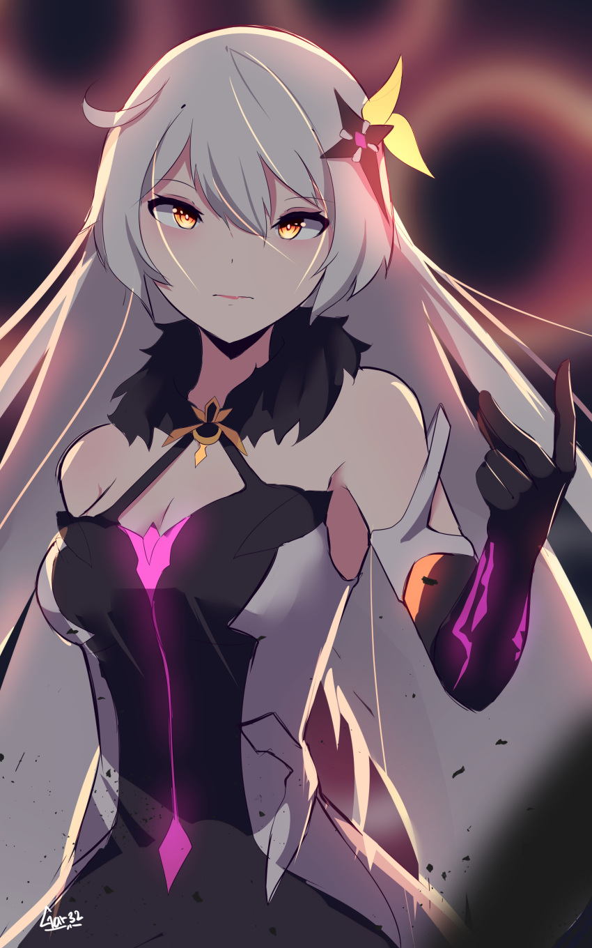 1girl absurdres ahoge armor armored_dress bangs bare_shoulders blurry blurry_background breasts dark_persona diamond-shaped_pupils dimensional_hole dress elbow_gloves energy_wings eyebrows_visible_through_hair fur_collar gloves hair_between_eyes hair_ornament highres honkai_(series) honkai_impact_3rd jewelry kiana_kaslana kiana_kaslana_(herrscher_of_the_void) long_hair looking_at_viewer medium_breasts sidelocks signature silver_hair single_elbow_glove snapping_fingers solo symbol-shaped_pupils tegar32 very_long_hair yellow_eyes