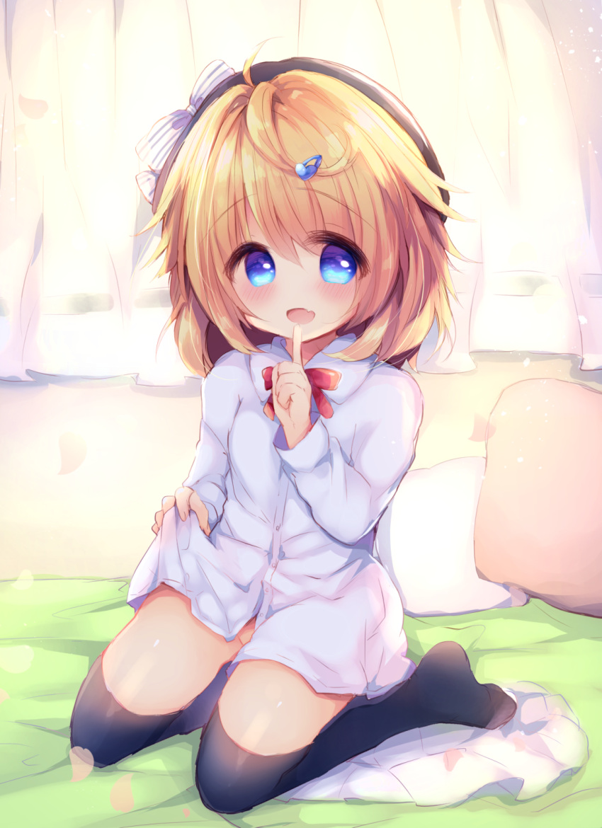 1girl :d bangs bed_sheet beret black_headwear black_legwear blue_eyes blush bow brown_hair collared_shirt commentary_request copyright_request curtains dress_shirt eyebrows_visible_through_hair fang full_body groin hair_between_eyes hair_ornament hairclip haru_ichigo hat highres long_hair naked_shirt no_shoes open_mouth pillow red_bow shirt smile solo striped striped_bow thigh-highs white_bow white_shirt