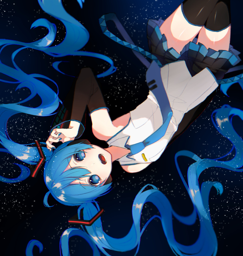 1girl armpit_peek bare_shoulders black_background black_legwear black_skirt blue_background blue_eyes blue_hair blue_nails blue_neckwear cowboy_shot curly_hair dark_background detached_sleeves expressionless eyebrows_visible_through_hair eyes_visible_through_hair fingernails flat_chest floating_hair gradient gradient_background gu_156cm hand_on_own_face hatsune_miku light_particles long_hair nail_polish necktie open_mouth pleated_skirt shirt skirt sleeveless sleeveless_shirt solo thigh-highs thighs upside-down very_long_hair vocaloid white_shirt zettai_ryouiki