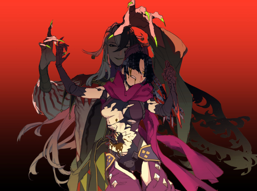 android ashiya_douman_(fate/grand_order) blood bloody_weapon breasts broken commentary earrings fate/grand_order fate_(series) fingernails green_lipstick highres ichimatsu_(odoro_lol) jewelry katou_danzou_(fate/grand_order) kunai lipstick long_fingernails long_hair magatama magatama_earrings makeup medium_breasts multicolored_hair oil ponytail scarf torn_clothes two-tone_hair weapon